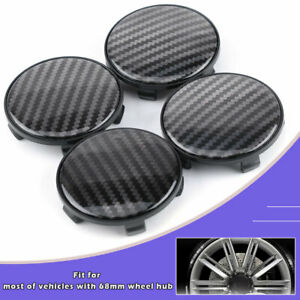4X 68mm Carbon Fiber Black Texture Car Wheel Center Hub Caps ABS Cover No Logo