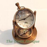 Vintage Style Brass Desk Clock Quartz Desktop Decorative Gift