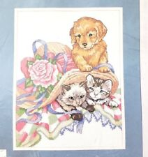Dimensions Puppy &Kittens Printed Cross Stitch Kit No Count Designer Carol Bryan