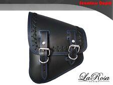 LaRosa V Rod Night Rod Special Saddle Bag - Black Leather Blue Stitch Cross Lace