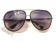 BALENCIAGA Black Leather Women's Gradient Smoke Aviator Sunglasses BRAND NEW