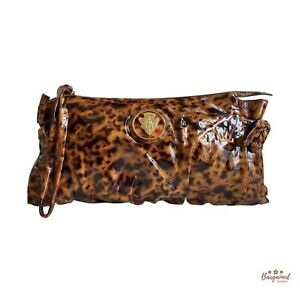 Authentic Gucci Tortoise Brown Patent Leather Hysteria Large Clutch Bag 197015