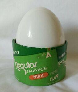 L'eggs Leggs Egg Regular Pantyhose Size A nude Sheer Toe NOS Vintage USA