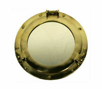 "Ship's Cabin Porthole Mirror 11"" Solid Brass Round Nautical Maritime Wall Decor"