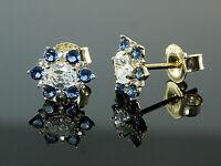 333 Gold Ohrstecker mit blauen Saphir Steinen und Zirkonia  8,2 mm  1 Paar