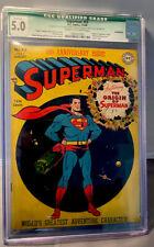 SUPERMAN # 53 - CGC 5.0 - QUALIFIED - DC COMICS 7-8/1948 - CREAM TO OFF-WHITE