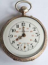 Swiss LANGENDORF Engraved Silver w/ Gold FANCY HANDS & CASE Pocket Watch RUNS