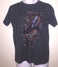 Ed Hardy Men Snake & Sword Short Sleeve Size M Heather Black Made In U.S.A  F/S