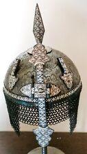 Indo Persian Ottoman Mughal Islamic Qazar  Engraved Helmet silver Koftgari work