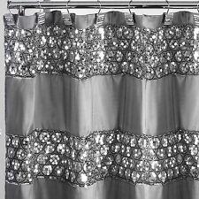 Popular Bath Sinatra Silver 70 x 72 Bathroom Fabric Shower Curtain & Hook Set