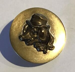 AWESOME ANTIQUE PICTURE BUTTON WITH PIG IN A HAT