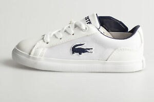 Lacoste Juniors Lerond Trainers White Black Boys Shoes All Sizes