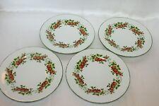 """Vintage Limoges France Strawberry Porcelain 7-1/4"""" Salad Dessert Plates Set of 4"""