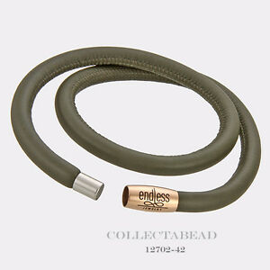 """Authentic Endless Rose Gold Plated Green Double Leather Bracelet 7.5"""" 12702-38"""