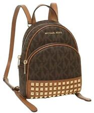 MICHAEL KORS ABBEY XS STUDDED BACKPACK BAG CROSSBODY  MK SIGNATURE PVC BROWN
