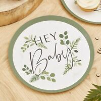 Hey Baby Plates Botanical Shower Table Decorations Rustic Greenery Mum To Be