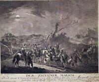 August Querfurt Zigeuner Fahrendes Volk Sinti Roma Vollmond Gipsy Radierung 1772