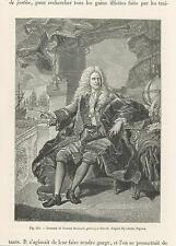 ANTIQUE PORTRAIT OF A FRENCH FINANCER SAMUEL BERNARD GLOBE SHIPS INKWELL PRINT