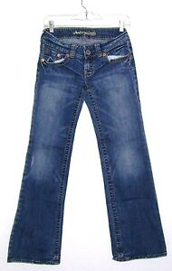 PRE-OWNED WOMENS JUNIOR SIZE 0 DISTRESSED LOW RISE JEANS BY AMERICAN EAGLE