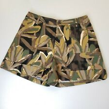 Who What Wear Camo Shorts 6 Leaf Print Black Green Stretch Tropical Women's NWT