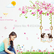 Wall Decal Removable Cherry Blossom Tree Swing Wall Sticker Kids Room Home Decor