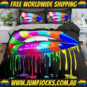 Rainbow Lips Bedspread Set - Duvet Cover, Paint *FREE WORLDWIDE SHIPPING*