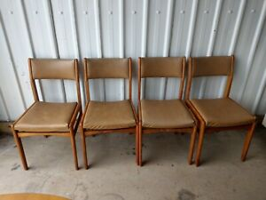VINTAGE RETRO WOOD & LEATHER DINING CHAIRS SEATS X 4