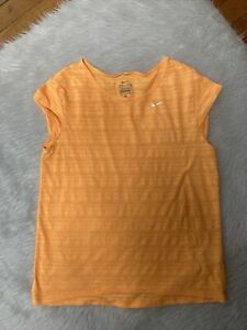 NIKE DRI-FIT T-SHIRT WOMEN'S S NEON Orange Cap Sleeve.