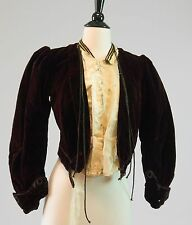 Antique Victorian purple velvet and silk tailored jacket with black corde trim