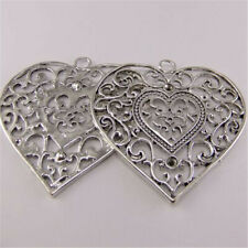 5pcs Vintage Silver Alloy Hollow Floral Heart Pendant Charms Jewelry Accessories