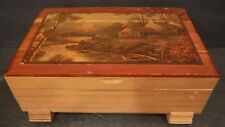 Antique Wood Box W/Picture Of House And Stream On Lid & Nice Patina Look