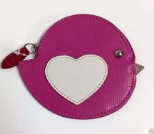 Coach Leather Pink Coin Purse Love Bird Heart  Wallet Crossgrain  63144 NWT