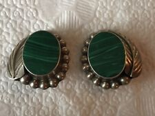 Malachite Clip on Earrings Vintage Mexico Sterling Silver
