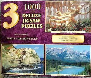 3 Sure-Lox 1000 Pc Jigsaw Puzzles Manarola Italy, Banff Alberta, Golden Statue