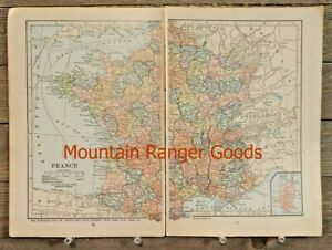 1923 France Corsica Corse World Atlas Map Cartography Print Art Color Plate