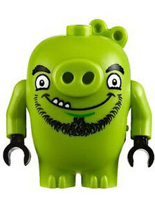 Lego Angry Birds New Piggy 2 Green Pig Figure Happy Look Face