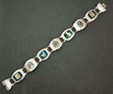 Aztec Design Sterling Silver Turquoise Link Bracelet