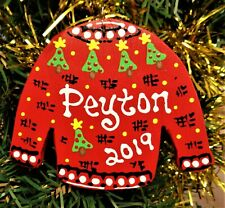 UGLY CHRISTMAS SWEATER ORNAMENT Personalized U CHOOSE NAME & YEAR Holiday Gift