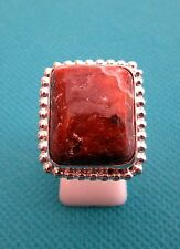 925 Sterling Silver Ring avec cabochon Coupé Rouge Jasper UK P, US 7.75 (rg2334)