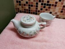 Andrea Sadek Tea Pot and 6 oz Cup Multi Colored Flowers Green Leaves White