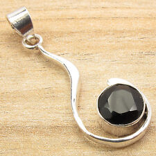 925 Sterling Silver Plated Round Cut BLACK ONYX Pendant NEW Jewelry Manufacturer
