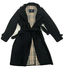 BURBERRY LONDON WOMEN Black Double Breasted COAT/TRENCH SZ 14 Made In England
