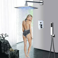 8'' Shower Faucet Set LED Chrome Rain Wall Mount Shower Head Handheld Sprayer