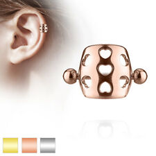 FAMA Hollow Hearts Cartilage Helix Cuff Barbell 316L Surgical Steel