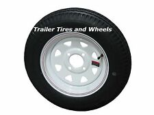 "4.80-12 LRC 6 PR Bias Trailer Tire on 12"" 4 Lug White STP Trailer Wheel 4.80x12"