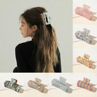 Women Geometric Acetate Hair Claw Large Square Hair Clip Leopard Hairpins Clips