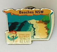 Beaches NSW Sydney 2000 Olympics Torch Relay Pin Badge Vintage (J9)