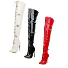 Women's Sexy Over Knee Thigh Boots Stiletto High Heels Buckle Pointed Toe Shoes