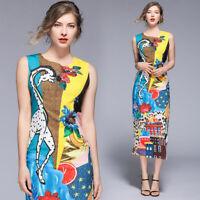 eab01a66a2f0 2019 Summer Giraffe Floral Print Sleeveless Crew Neck Women A-Line Bodycon  Dress