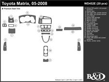 TOYOTA MATRIX 2005 2006 2007 2008 DASH TRIM KIT e